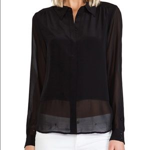 Joie Savory Silk Mercina Blouse in Caviar Sz Small